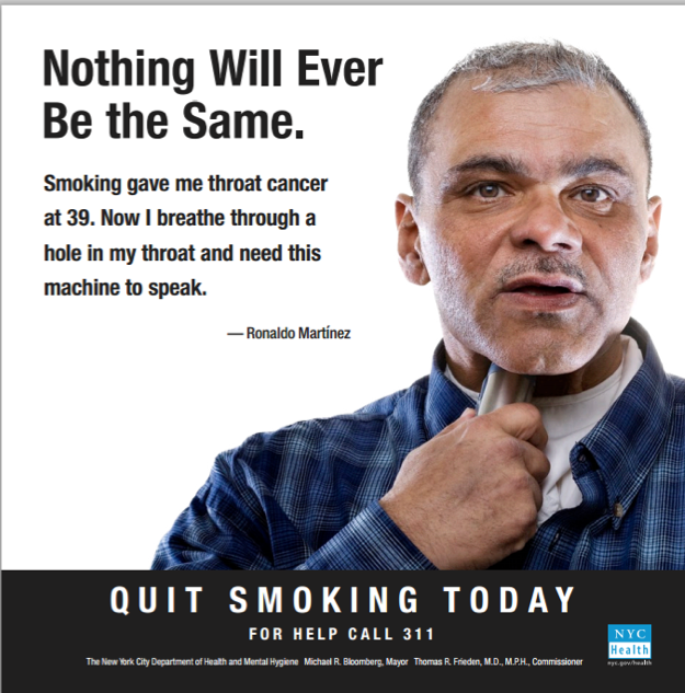 an advertisement showing a man shoving a device into his throat, having to do so as a result of a medical condition.